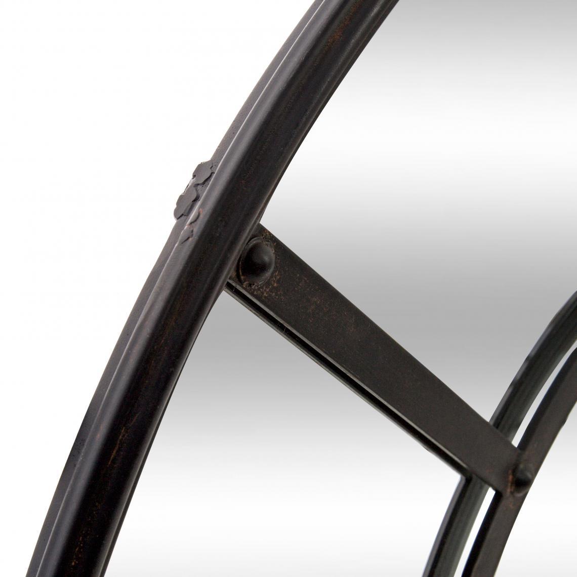 miroir rond industriel en metal noir rina
