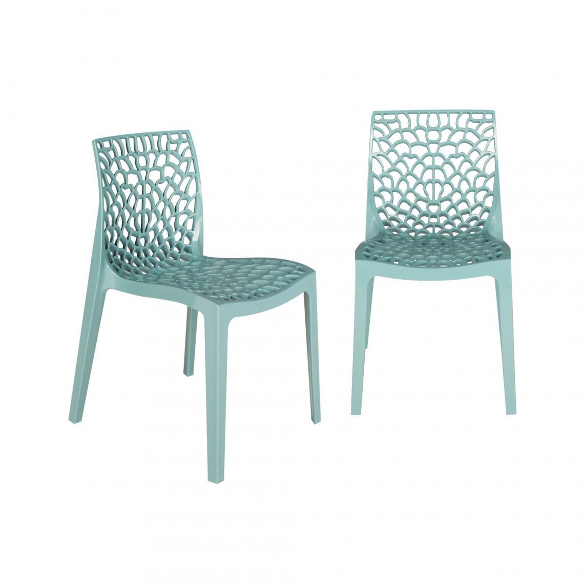 lot de 2 chaises design bleu ciel gruyer