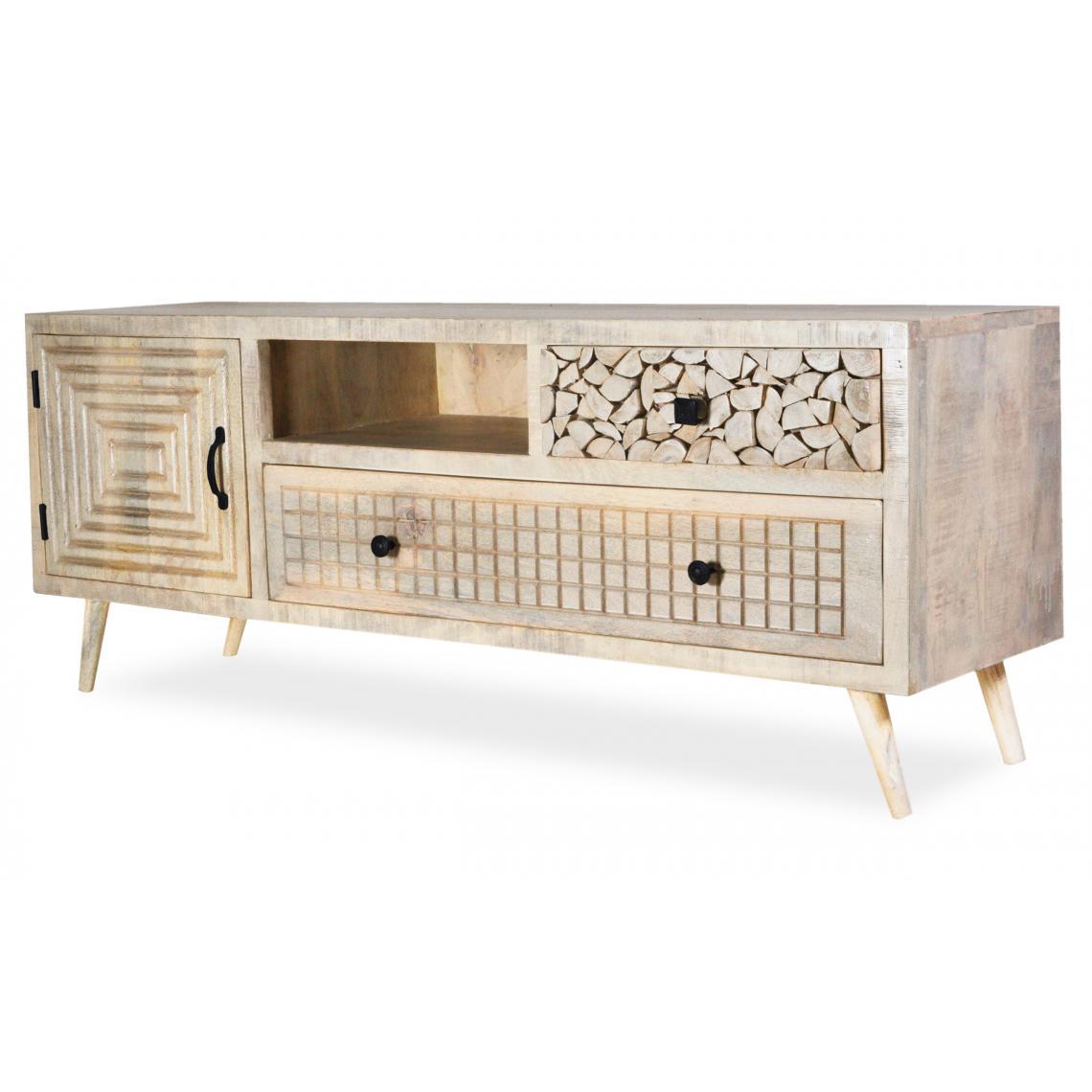meuble tv en bois d acacia avec 3 tiroirs et 1 placard douri