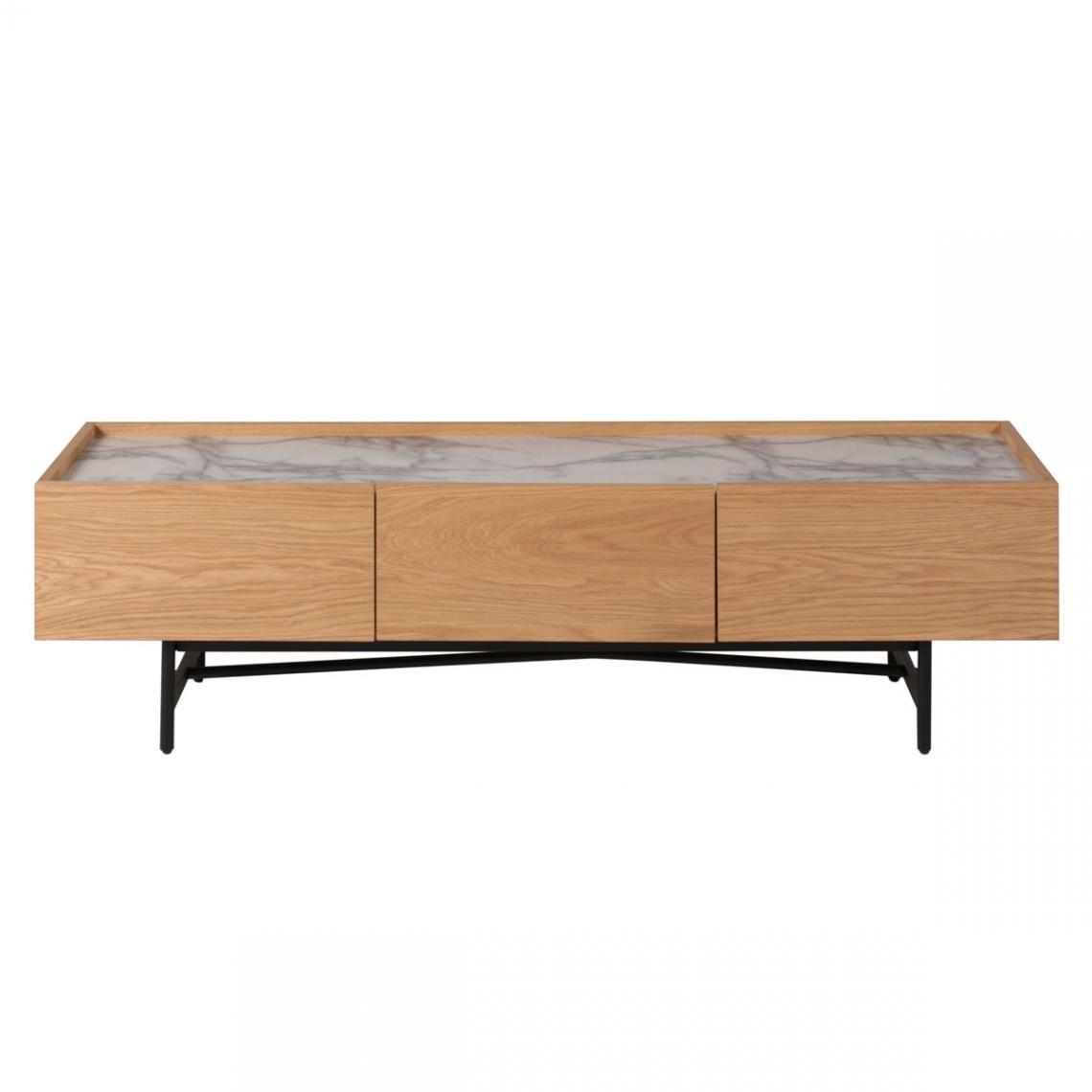 meuble tv 2 tiroirs en chene et feuille de marbre caracas