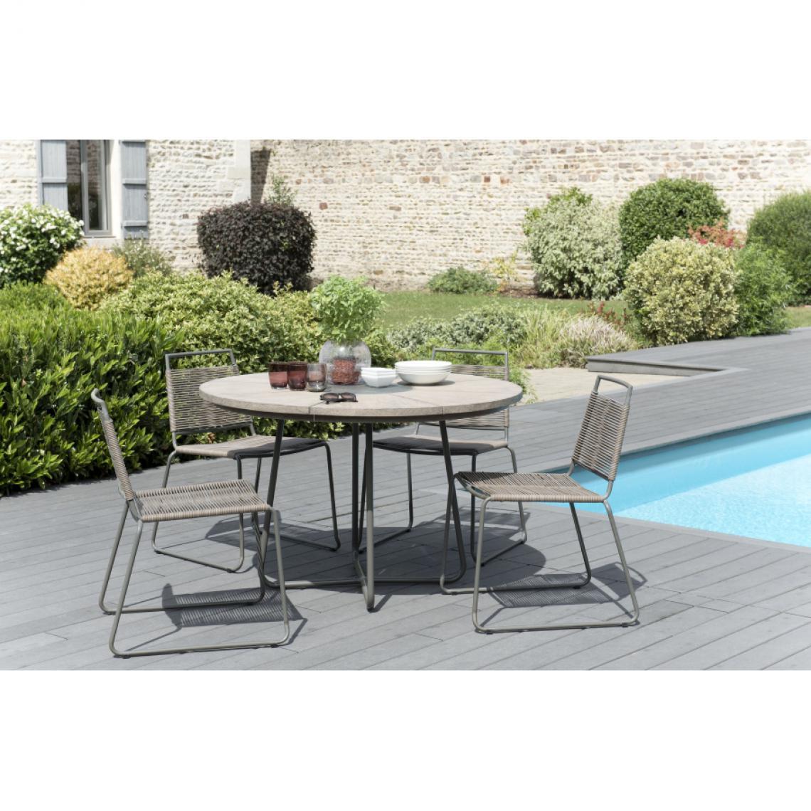 salon de jardin en bois teck grise 4 6 pers ensemble de jardin 1 table ronde 120 cm et 4 chaises empilables