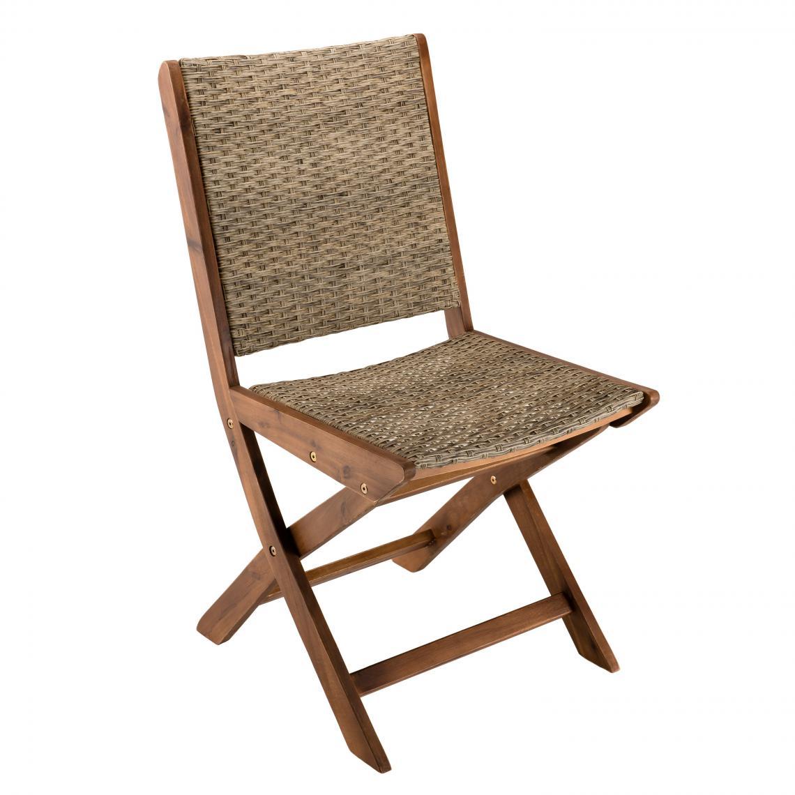 ensemble de 2 chaises de jardin pliantes en bois acacia et rotin synthetique
