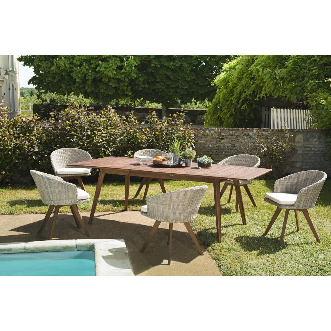 salon de jardin en bois acacia 8 10 pers ensemble de jardin 1 table rectangulaire extensible 180 240 100 cm et 6 fauteuils en rotin synthetique