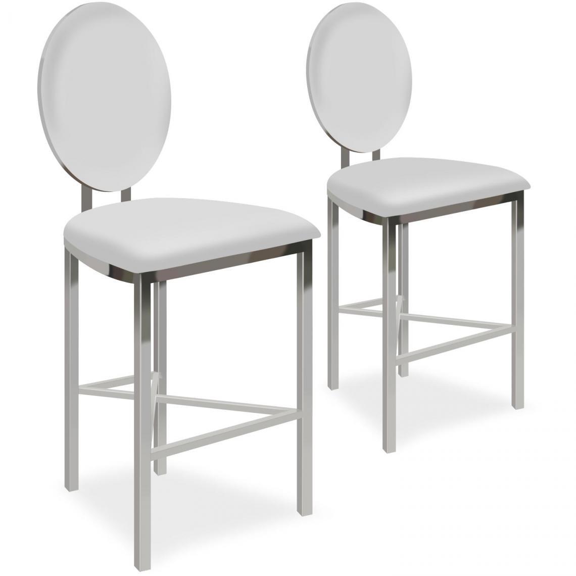 lot de 2 chaises de bar medaillon simili blanc pask