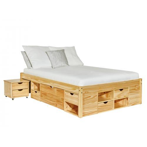 lit en pin massif avec tiroirs de rangement onio