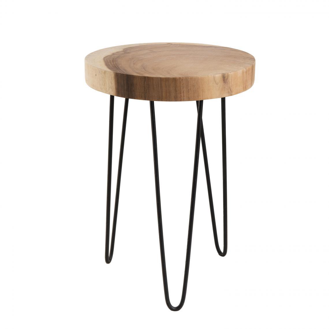 petite table d appoint ronde bois nature mungur pieds epingles scandi metal clea