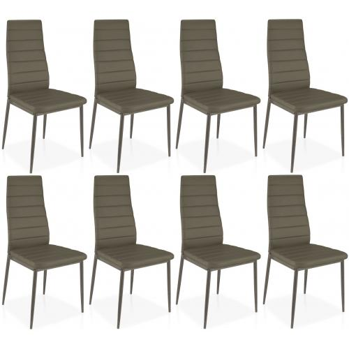 lot de 8 chaises taupe en metal san jose