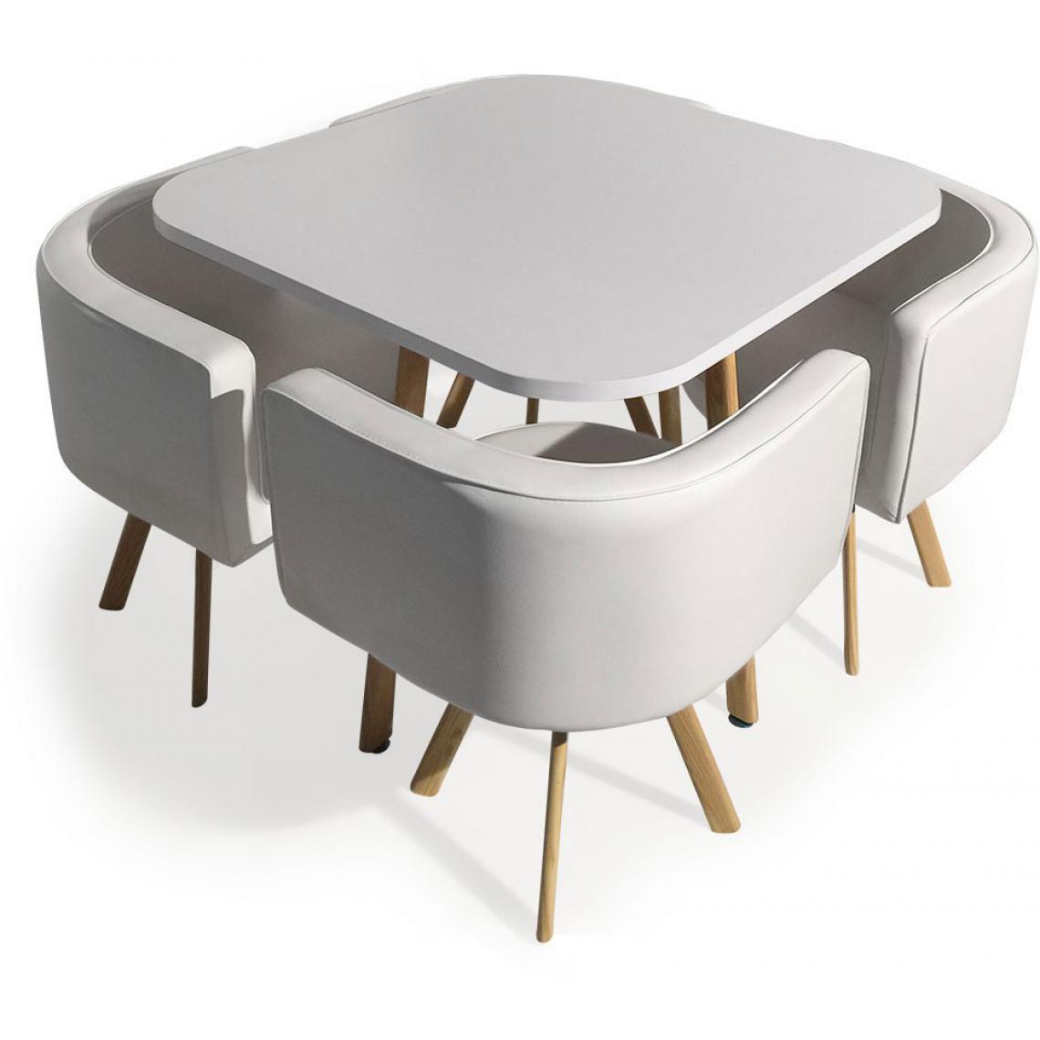 table avec chaises encastrables scandinaves blanc copenhague