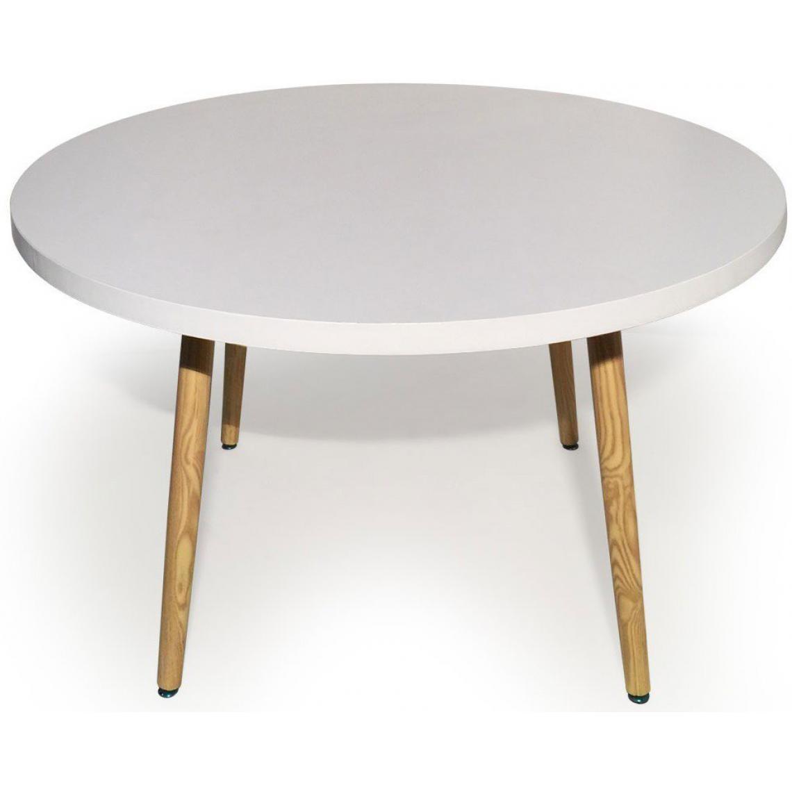 table ronde style scandinave blanc blondie