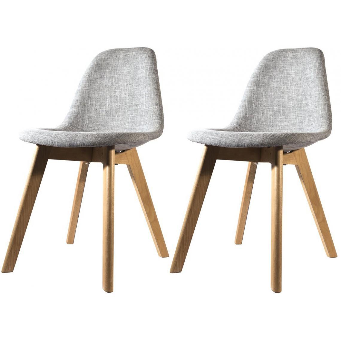 lot de 2 chaises scandinave en tissu grise fjord