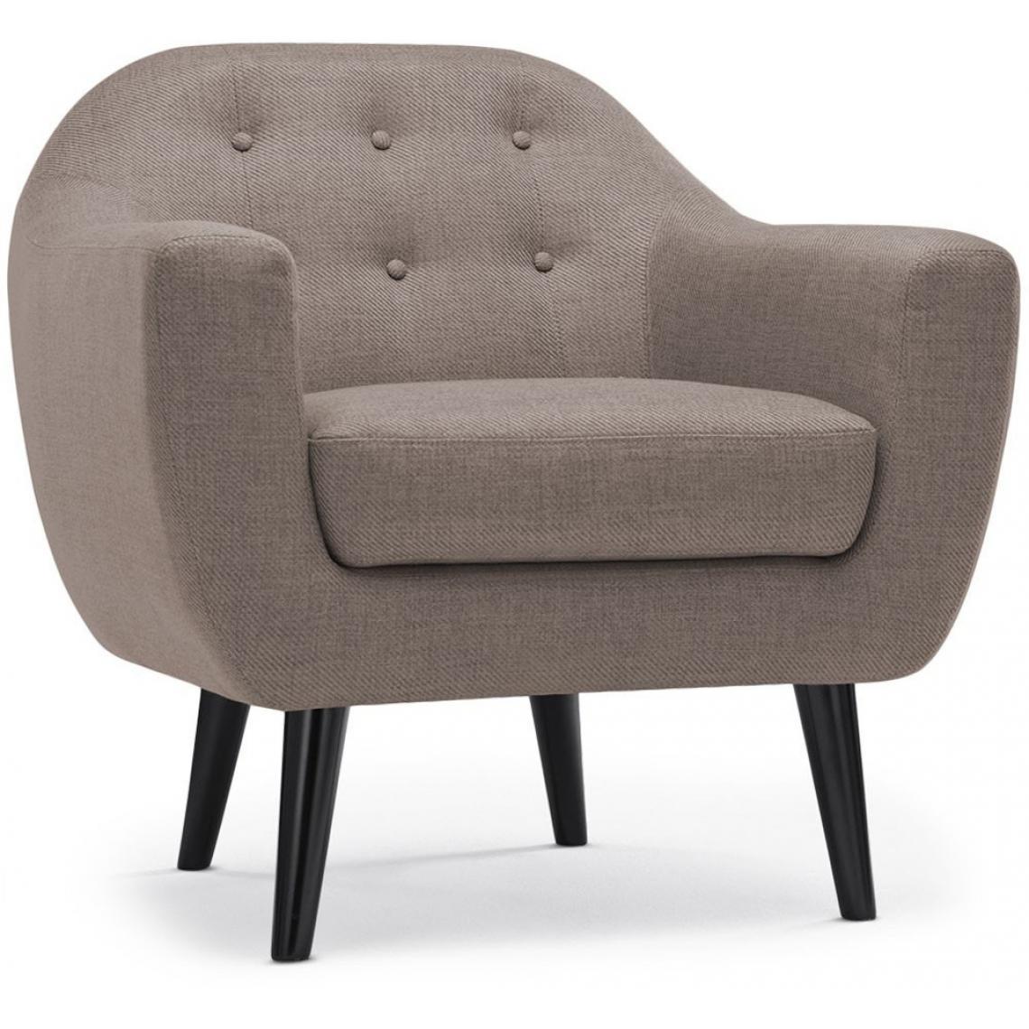 fauteuil scandinave tissu taupe fidelio