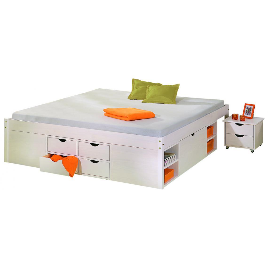 lit en bois avec espaces de rangement mobiles blanc 160x200 kolo