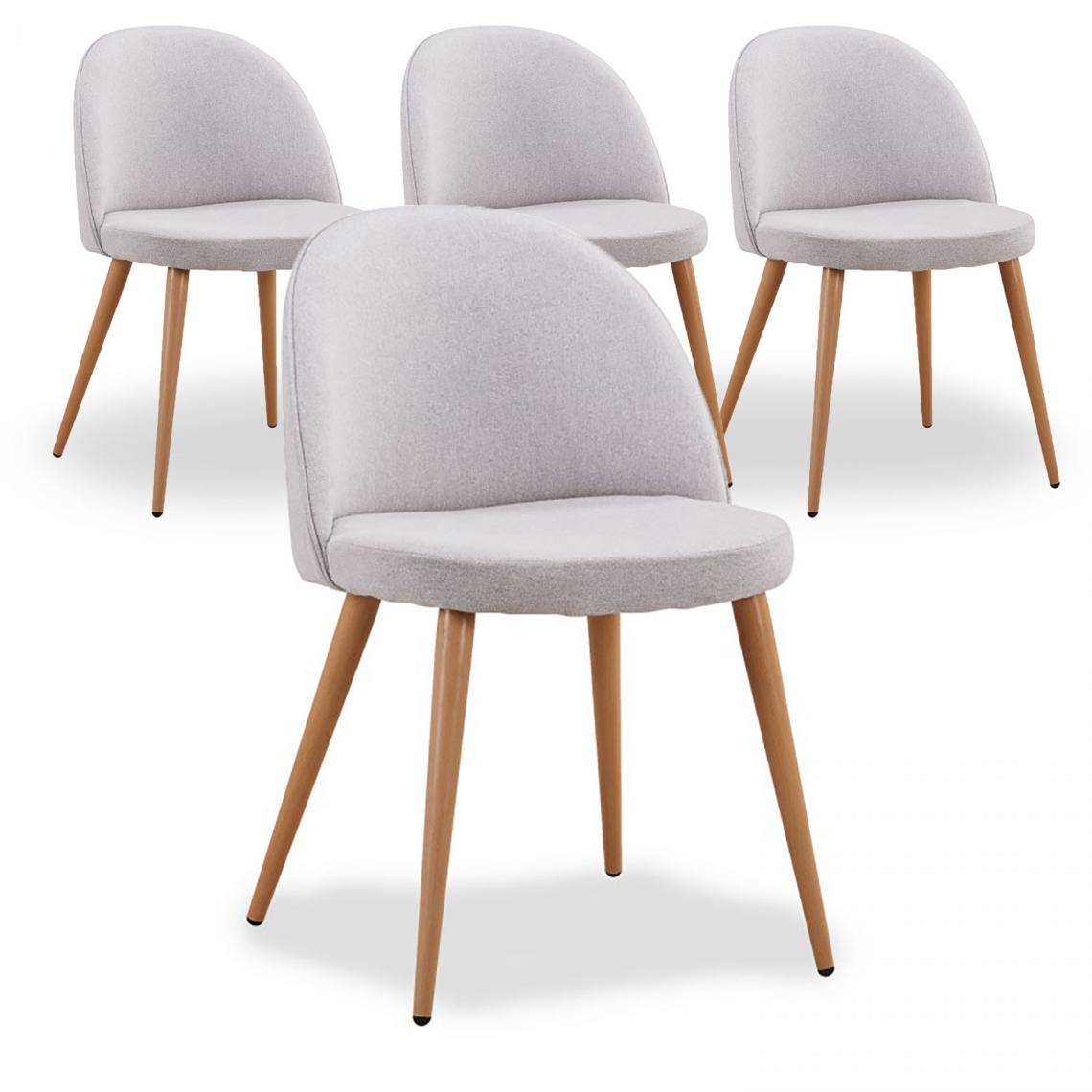 lot de 4 chaises scandinaves en tissu gris melchior