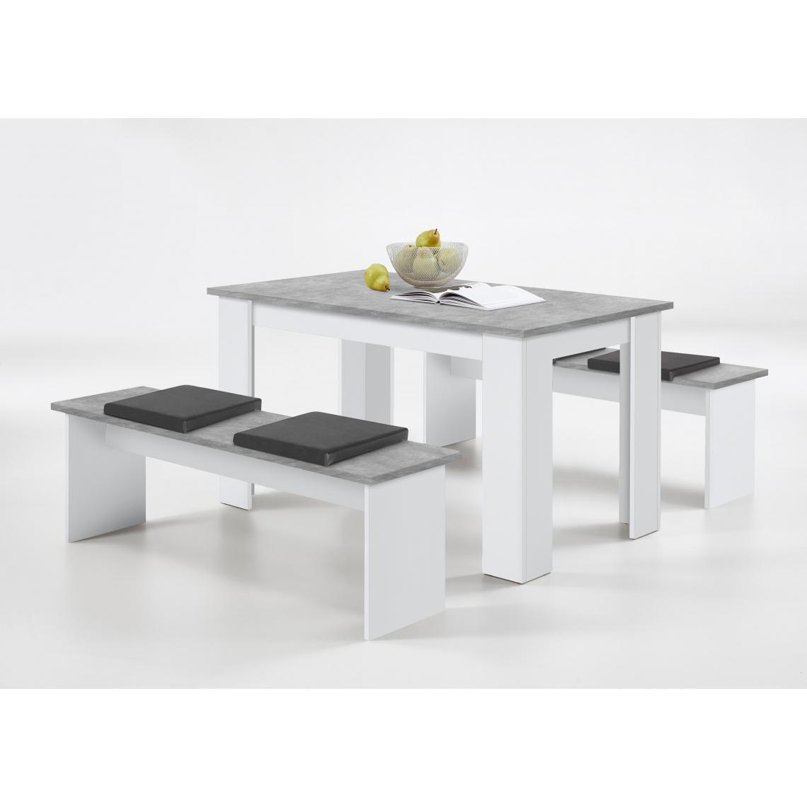 ensemble table 2 bancs gris beton blanc leyne