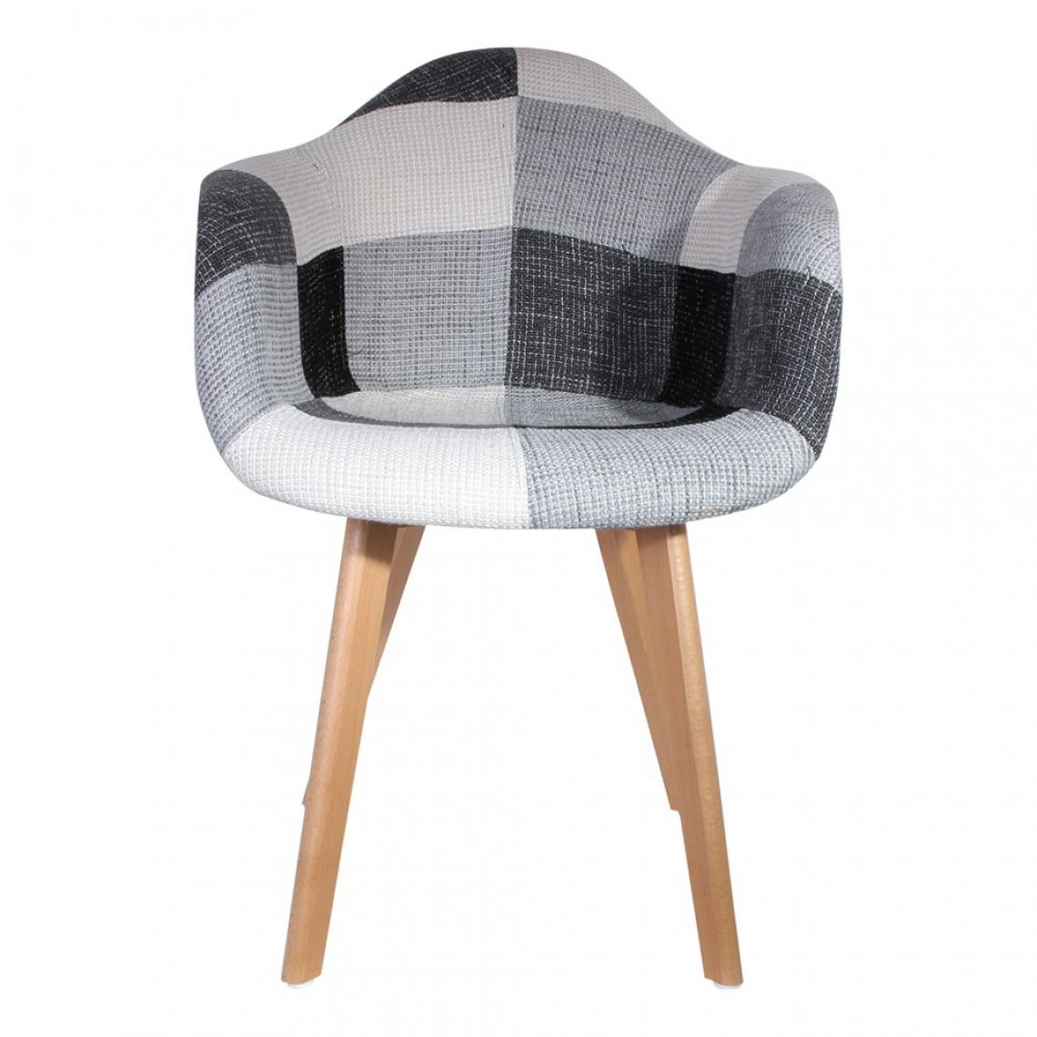 fauteuil scandinave patchwork gris patchy