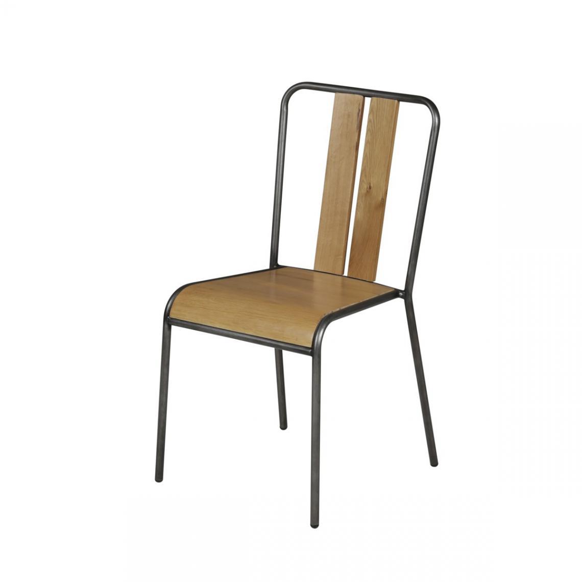 chaise empilable chene massif metal boston