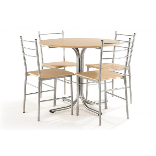 ensemble table ronde 4 chaises hetre naturel rembo