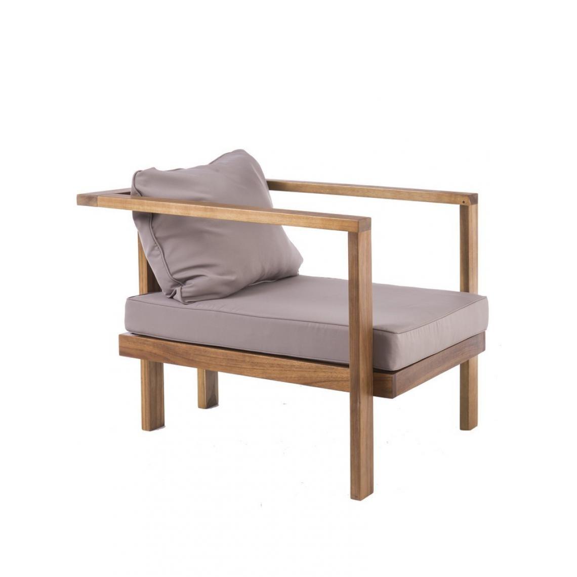 fauteuil de jardin teck marron gris luigo