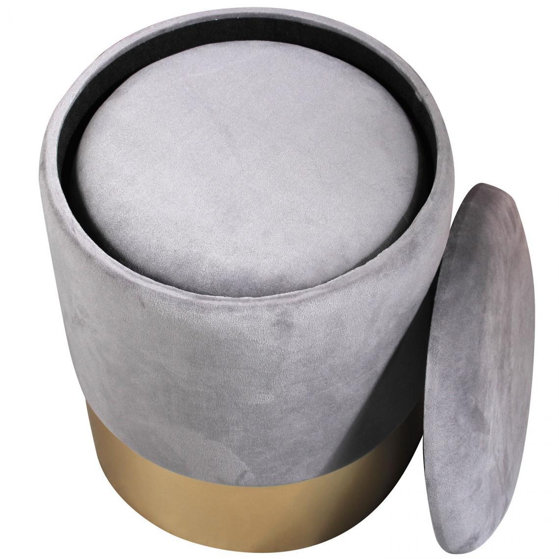 lot de 2 poufs avec rangement velours gris zubra