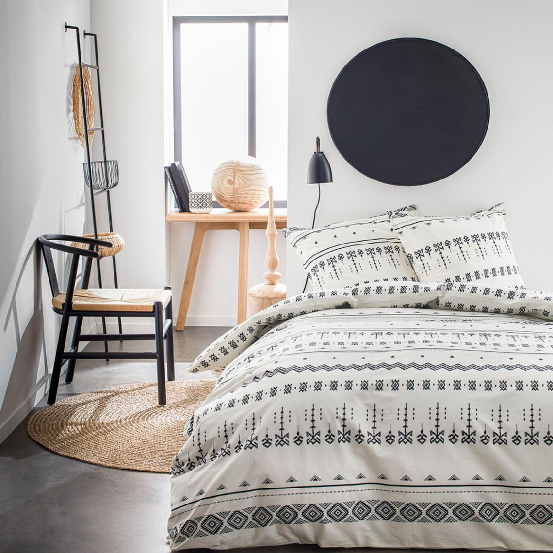 parure de lit 2 personnes coton imprime ethnique tribe blanc