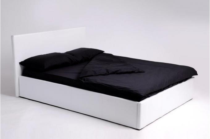 lit coffre 140x190 blanc avec sommier