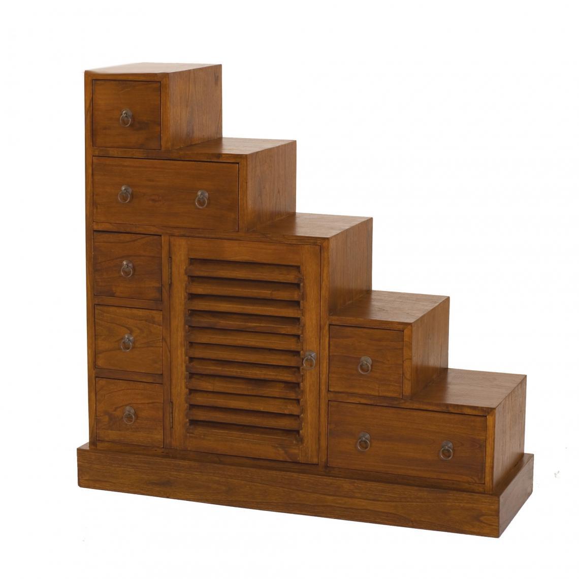 meuble escalier 1 porte 7 tiroirs en bois mindi unique