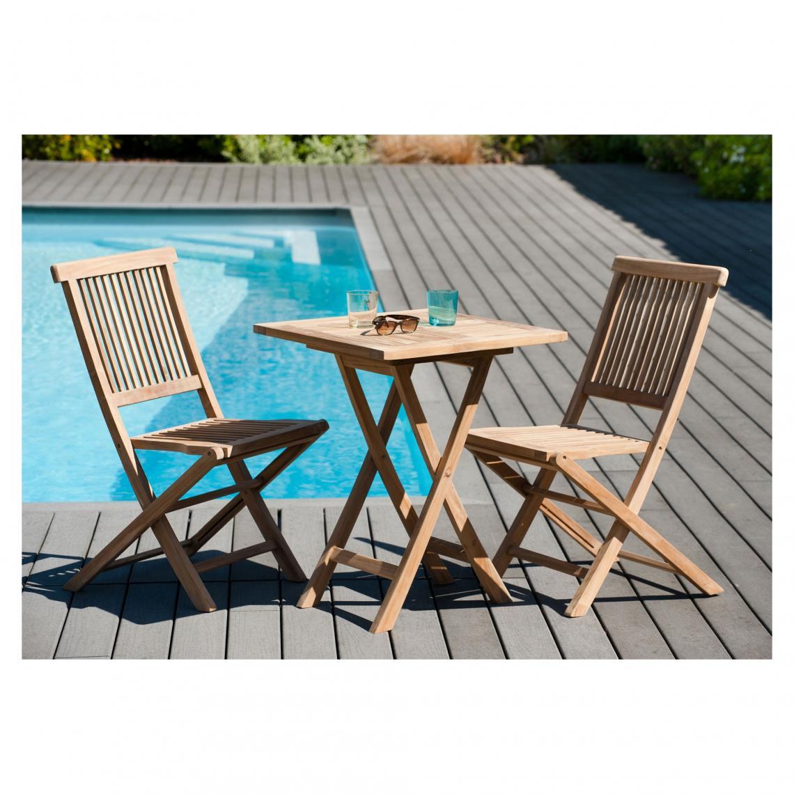 salon de jardin en bois teck 2 personnes ensemble de jardin 1 table carree pliante 60 cm et 2 chaises
