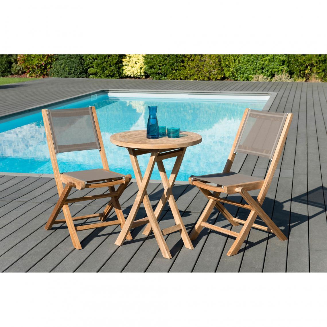 salon de jardin en bois teck 2 pers ensemble de jardin 1 table ronde pliante 60 cm et 2 chaises textilene couleur taupe
