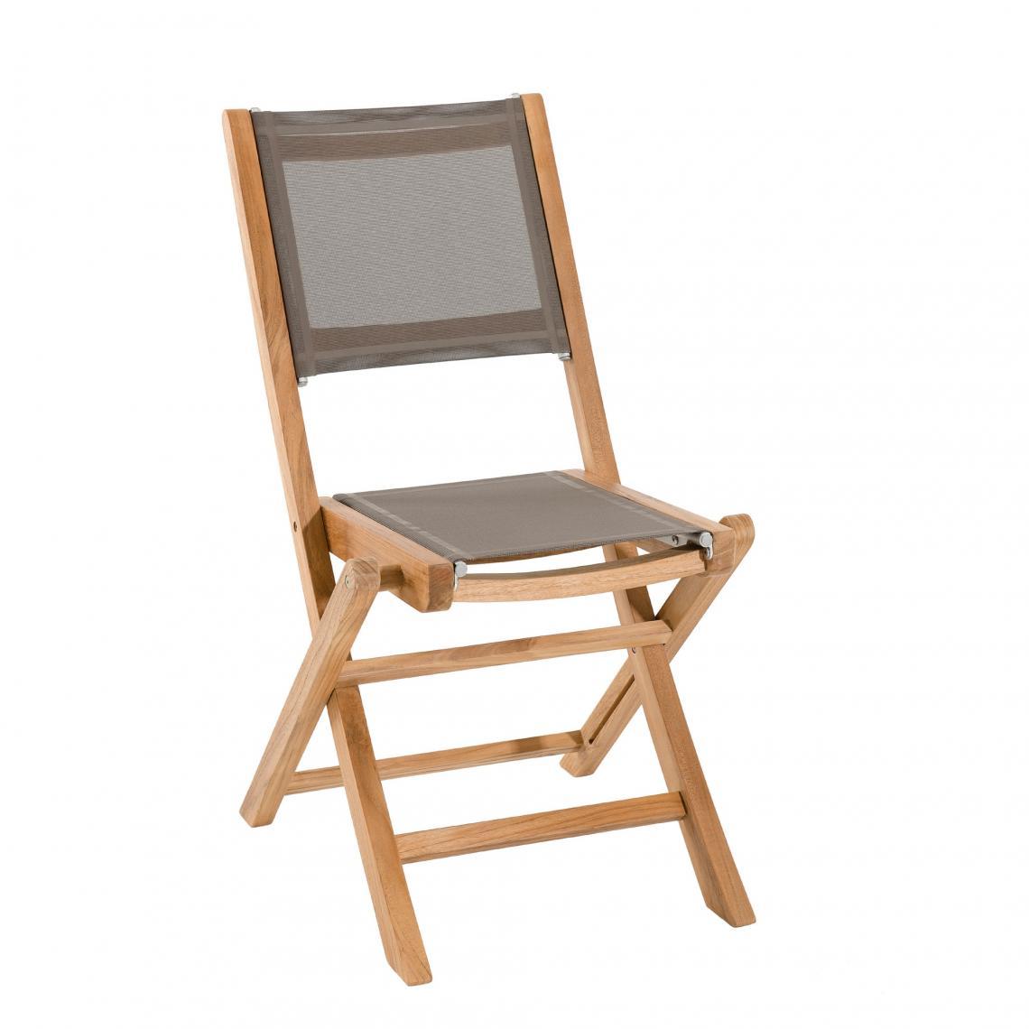ensemble de 2 chaises de jardin pliantes en bois teck et textilene couleur taupe