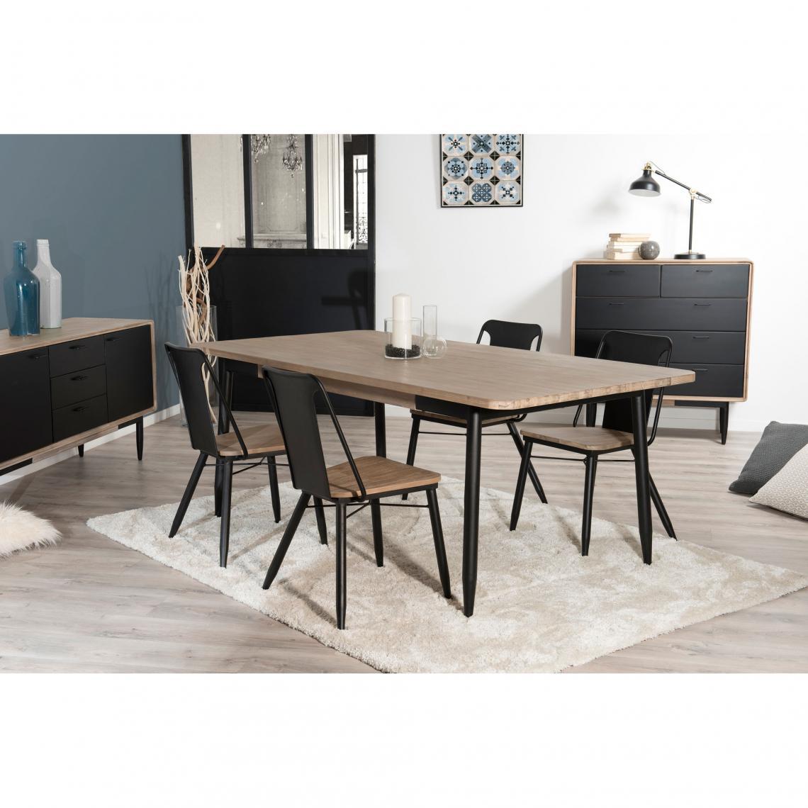 table manger rectangulaire 200 x 100 cm esprit atelier chene clair ceruse