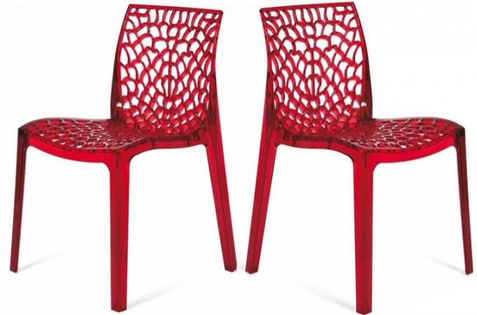 Lot De 2 Chaises Rouge Transparentes Gruyer Chaises