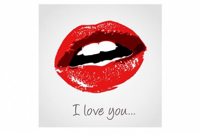 Tableau Bouche I Love You 50X50 Cm Tableaux Bouches Pas Cher