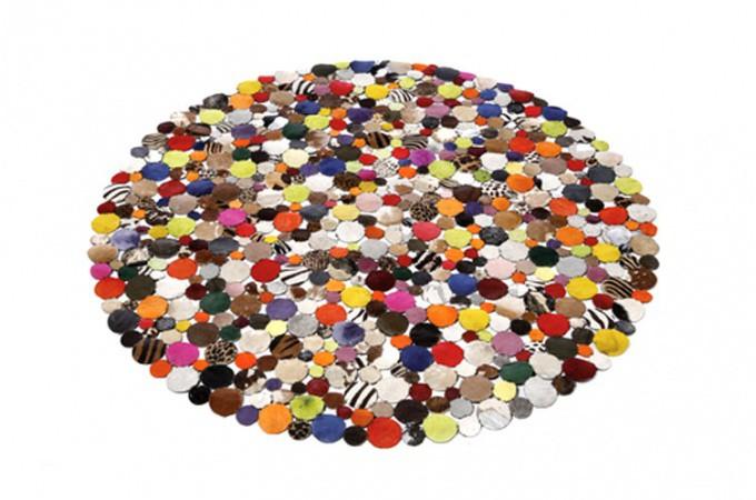 Tapis Rond Design En Cuir Multicolor 150x150 Tapis