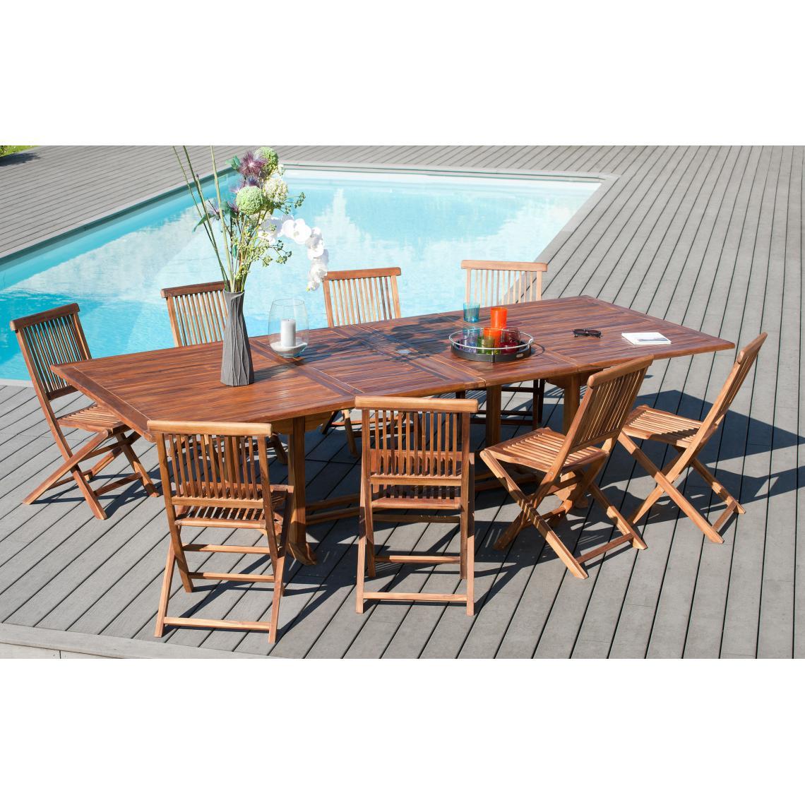 ensemble table rectangulaire extensible 8 chaises en teck massif