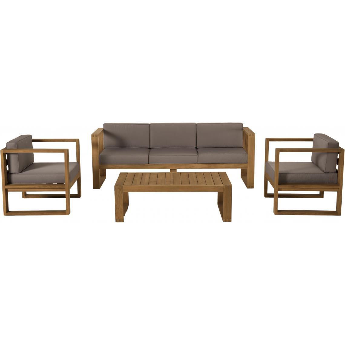salon de jardin majorque table basse teck canape 3 places 2 fauteuils