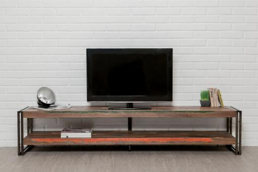 meuble tv avec double plateaux en teck recycle et metal petra