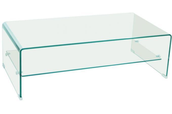 table basse en verre transparent otta