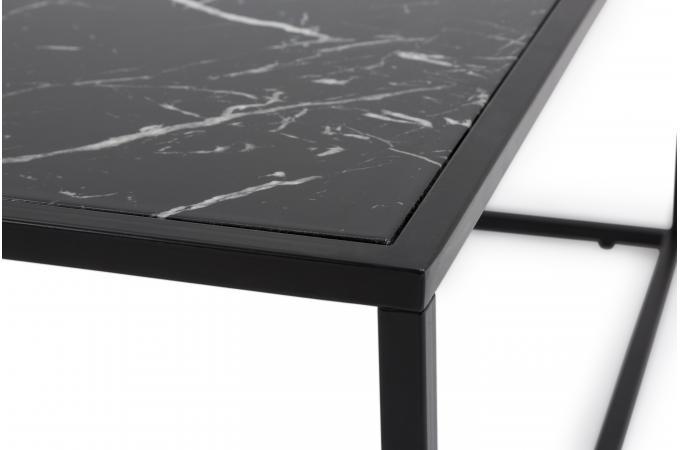 Table Basse Plateau Effet Marbre Noir FORTUNE Table Basse Pas Cher