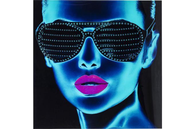 Tableau KARE DESIGN En Verre Portrait Femme Effet Non Bleu et Rose 120x120cm TOUGH GIRL