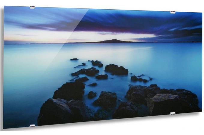 Tableau de paysage bleu avec support  Tableau Zen Pas Cher