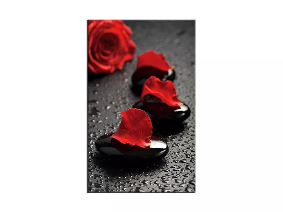 tableau plexiglas deco galet et rose rouge