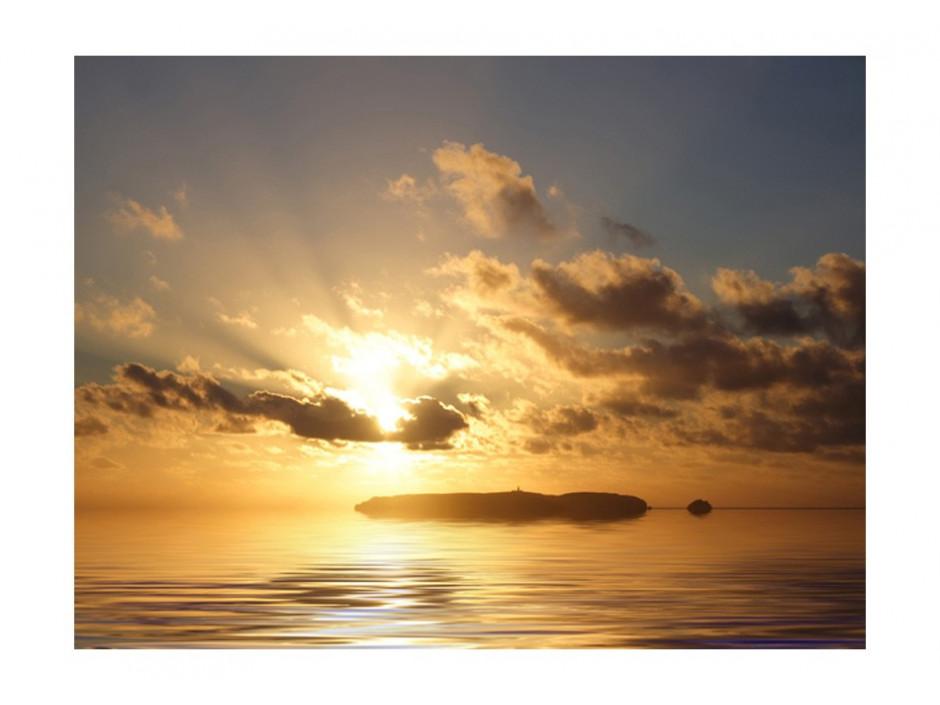 papier peint mer coucher de soleil