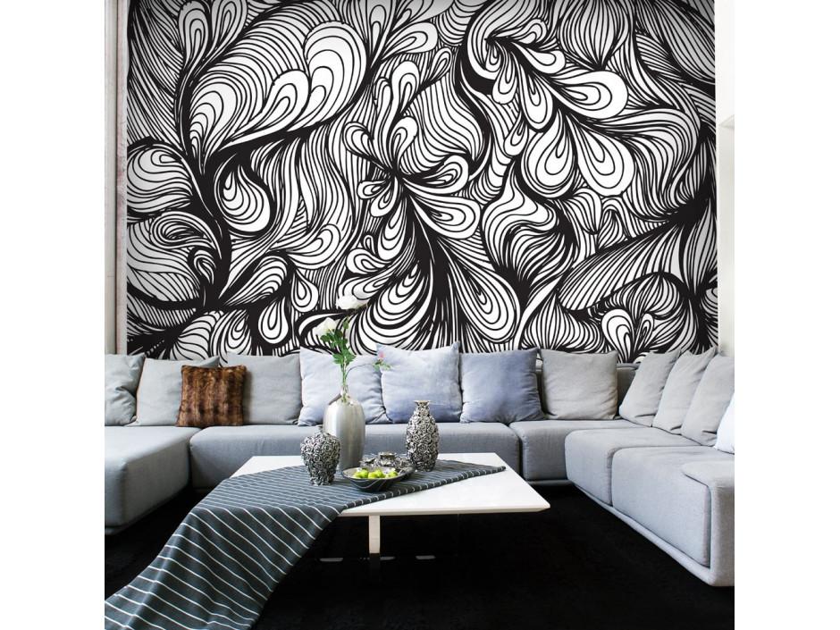 papier peint noir et blanc style retro declina