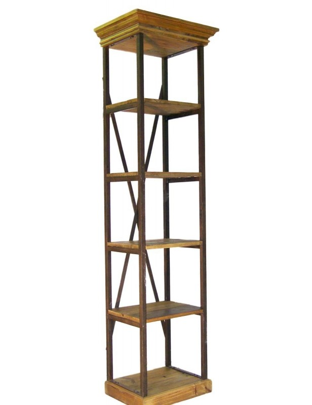 bibliotheque etagere bois recycle 5 tablettes 2 tiroirs 1 echelle