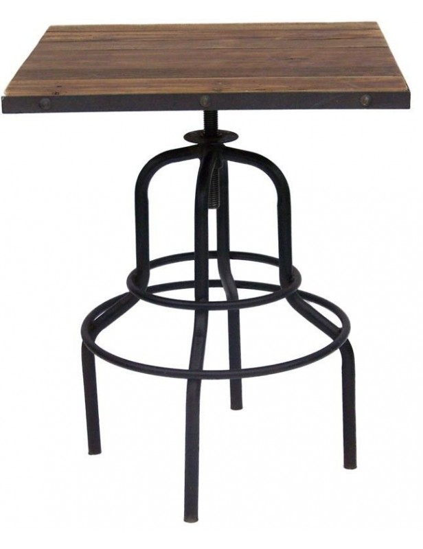 Table Bar Duo Carre Bois Recycl Industriel Pied Mtal