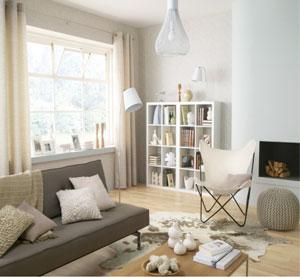Peinture salon blanc cass canap gris taupe