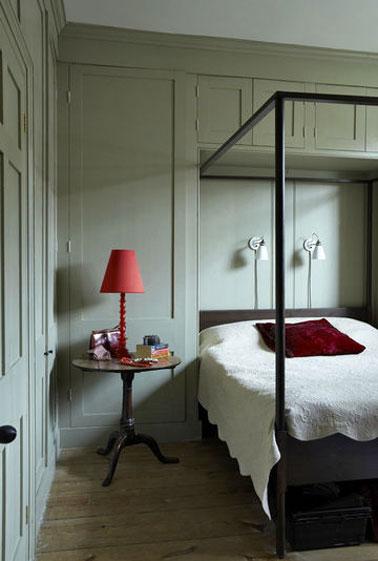 Une peinture gris vert dans une chambre adulte cocooning