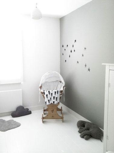 Dcoration chambre bb couleur gris blanc berceau bois