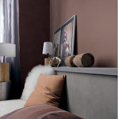 ambiance couleur chambre cosy de brun chocolat tete de lit