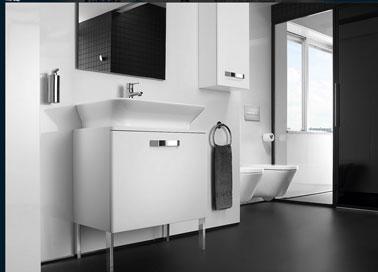 Dco Salle De Bain Meuble Vasque Blanc Carrelage Noir Aubade